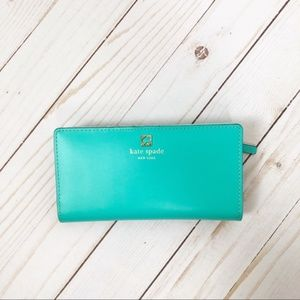 Kate Spade Turquoise Snap Top Continental Wallet